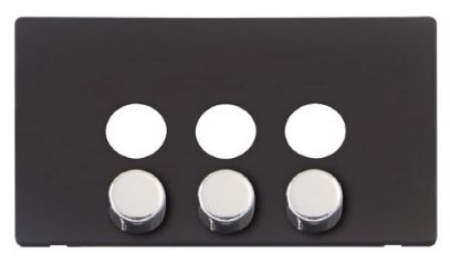 Scolmore Click Definity SCP243BK 3 Gang Dimmer Switch Cover Plate Black with Chrome Knobs