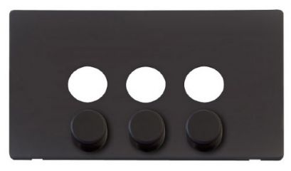 Scolmore Click Definity SCP243BK 3 Gang Dimmer Switch Cover Plate Black