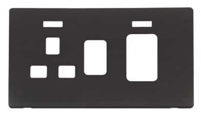 Scolmore Click Definity SCP205BK 45A Switch + 13A Switched Socket With Neons Cover Plate Black