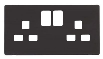 Scolmore Click Definity SCP436BK 2 Gang 13A Switched Socket Cover Plate Black