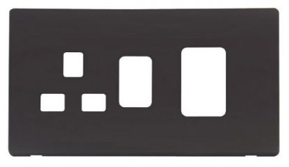 Scolmore Click Definity SCP204BK 45A Switch + 13A Switched Socket Cover Plate Black