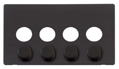 Scolmore Click Definity SCP244BK 4 Gang Dimmer Switch Cover Plate Black