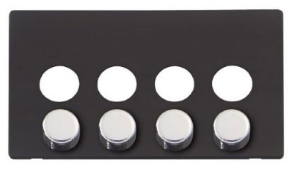 Scolmore Click Definity SCP244BK 4 Gang Dimmer Switch Cover Plate Black with Chrome Knobs