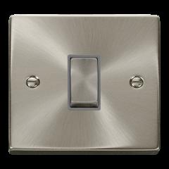 Click Deco VPSC411GY Satin Chrome 1 Gang 2 Way Ingot 10AX Switch Grey