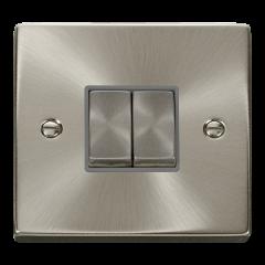 Click Deco VPSC412GY Satin Chrome 2 Gang 2 Way Ingot 10AX Switch Grey