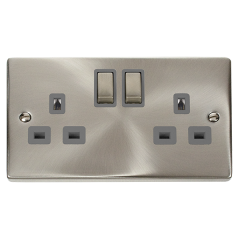 Click Deco VPSC536GY Satin Chrome 2 Gang 13A DP Ingot Switched Socket Grey