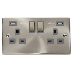 Click Deco VPSC580GY Satin Chrome 2 Gang 13A DP Ingot Switched Socket USB 2 x 2.1A Grey