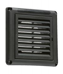 """Knightsbridge EX009B Fixed Shutter Grill with Fly Screen Black 4"""" 100mm"""