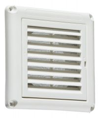 """Knightsbridge EX009W Fixed Shutter Grill with Fly Screen White 4"""" 100mm"""