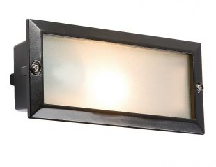 Knightsbridge BL01BK IP44 E27 Black Bricklight with Plain and Louvred Cover