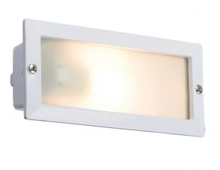 Knightsbridge BL01W IP44 E27 White Bricklight with Plain and Louvred Cover