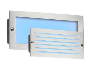 Knightsbridge BLED5SB 5 Watt LED Brushed Steel IP54 Bricklight with Plain and Grill Cover