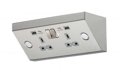 Knightsbridge SKR009 Under Cabinet 2 Gang Stainless Steel Socket with Dual USB