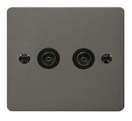 Scolmore Click Define FPBN066BK 2 Gang Coaxial Socket