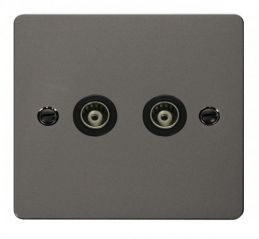 Scolmore Click Define FPBN159BK 2 Gang Isolated Coaxial Socket