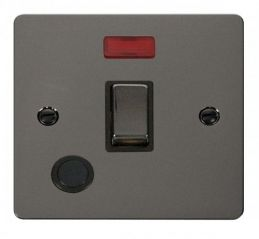 Scolmore Click Define FPBN523BK Ingot 20A 1 Gang DP Switch + Flex Outlet + Neon