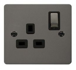 Scolmore Click Define FPBN535BK Ingot 1 Gang 13A DP Switched Socket