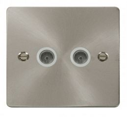 Scolmore Click Define FPBS066WH 2 Gang Coaxial Socket - White