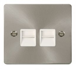 Scolmore Click Define FPBS121WH Twin Telephone Socket Master - White