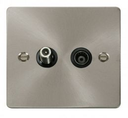 Scolmore Click Define FPBS157BK 1 Gang Satellite & Isolated Coaxial Socket - Black