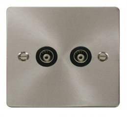 Scolmore Click Define FPBS159BK 2 Gang Isolated Coaxial Socket - Black