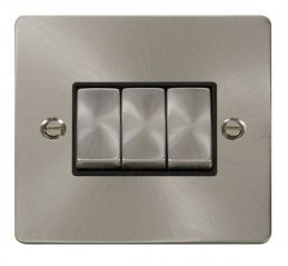 Scolmore Click Define FPBS413BK Ingot 10AX 3 Gang 2 Way Switch - Black