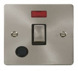 Scolmore Click Define FPBS523BK Ingot 20A 1 Gang DP Switch + Flex Outlet + Neon - Black