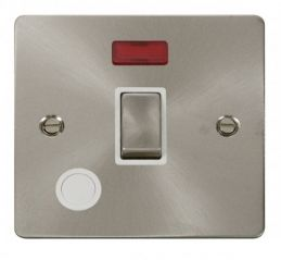 Scolmore Click Define FPBS523WH Ingot 20A 1 Gang DP Switch + Flex Outlet + Neon - White