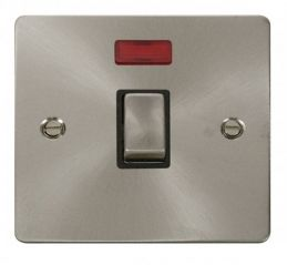 Scolmore Click Define FPBS723BK Ingot 20A 1 Gang DP Switch + Neon - Black