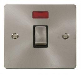 Scolmore Click Define FPBS723BK Ingot 20A 1 Gang DP Switch + Neon - Black