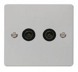 Scolmore Click Define FPCH066BK 2 Gang Coaxial Socket - Black