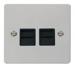 Scolmore Click Define FPCH126BK Twin Telephone Socket Secondary - Black