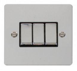 Scolmore Click Define FPCH413BK Ingot 10AX 3 Gang 2 Way Switch - Black