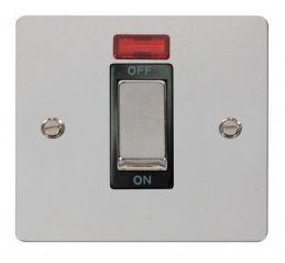 Scolmore Click Define FPCH501BK 1 Gang 45A Ingot DP Switch + Neon - Black