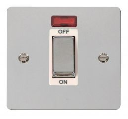 Scolmore Click Define FPCH501WH 1 Gang 45A Ingot DP Switch + Neon - White