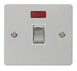 Scolmore Click Define FPCH723WH Ingot 20A 1 Gang DP Switch + Neon - White