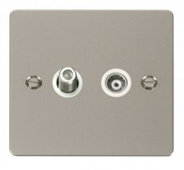 Scolmore Click Define FPPN157WH 1 Gang Satellite & Isolated Coaxial Socket - White
