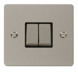 Scolmore Click Define FPPN412BK Ingot 10AX 2 Gang 2 Way Switch - Black