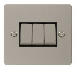 Scolmore Click Define FPPN413BK Ingot 10AX 3 Gang 2 Way Switch - Black