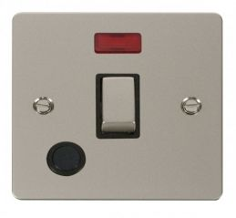 Scolmore Click Define FPPN523BK Ingot 20A 1 Gang DP Switch + Flex Outlet + Neon - Black