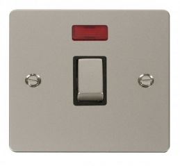 Scolmore Click Define FPPN723BK Ingot 20A 1 Gang DP Switch + Neon - Black