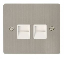 Scolmore Click Define FPSS121WH Twin Telephone Socket Master - White
