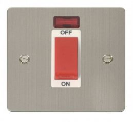 Scolmore Click Define FPSS201WH 1 Gang 45A DP Switch + Neon - White