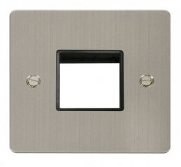 Scolmore Click Define FPSS402BK 1 Gang Plate Twin Switch Aperture - Black