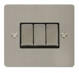 Scolmore Click Define FPSS413BK Ingot 10AX 3 Gang 2 Way Switch - Black