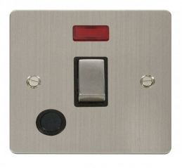 Scolmore Click Define FPSS523BK Ingot 20A 1 Gang DP Switch + Flex Outlet + Neon - Black