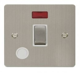 Scolmore Click Define FPSS523WH Ingot 20A 1 Gang DP Switch + Flex Outlet + Neon - White