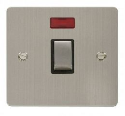Scolmore Click Define FPSS723BK Ingot 20A 1 Gang DP Switch + Neon - Black