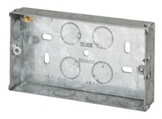 Click Scolmore WA094 2 Gang 25mm Deep Galvanised Steel Box