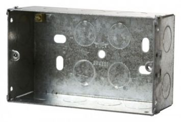 Click Scolmore WA098 2 Gang 47mm Deep Galvanised Steel Box